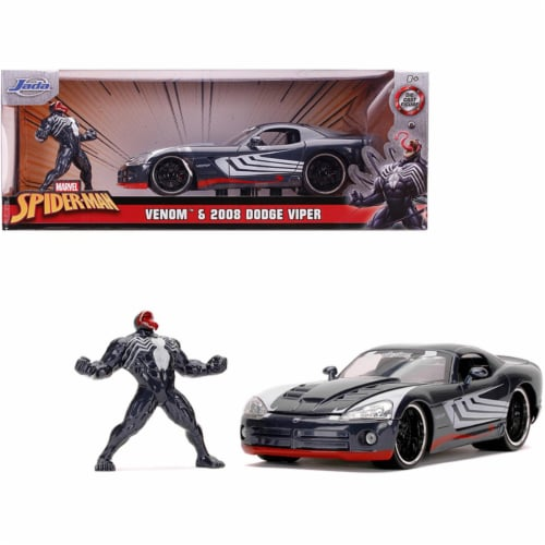 Jada 31750 2008 Dodge Viper SRT10 Dark Gray with Venom Diecast Figurine Spider-Man Marvel Ser Perspective: front