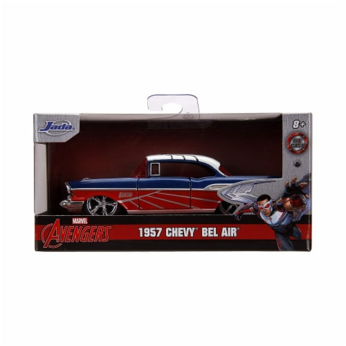 Jada 31762 1957 Chevrolet Bel Air Blue Metallic & Red with White Top Falcon Avengers Marvel S Perspective: front