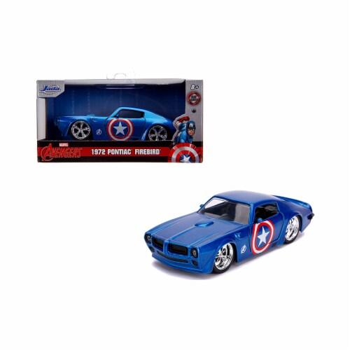 Jada 31845 1972 Pontiac Firebird Blue Metallic Captain America Avengers Marvel Series 1-32 Di Perspective: front