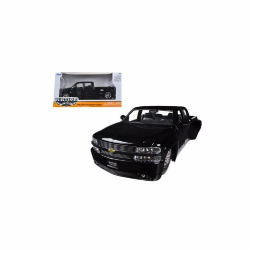 Jada 90145bk 1999 Chevrolet Silverado Dooley Black 1-24 Diecast Car Model Perspective: front