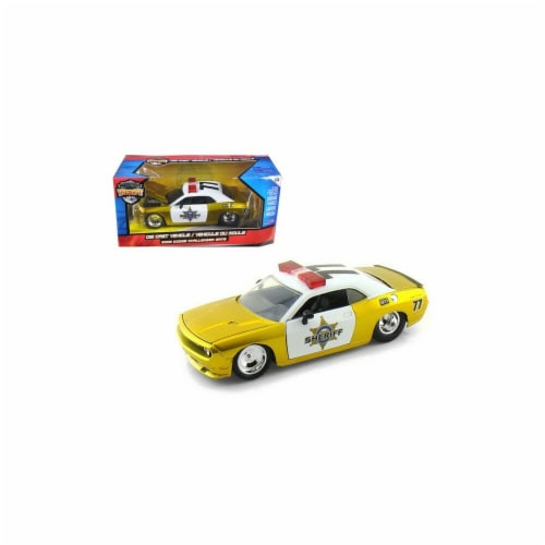 Jada 96460 2008 Dodge Challenger SRT8 Sheriff Gold 1-24 Diecast Car Model Perspective: front