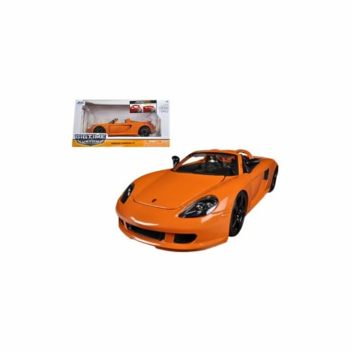 Jada 96955or 2005 Porsche Carrera GT Orange 1-24 Diecast Car Model Perspective: front