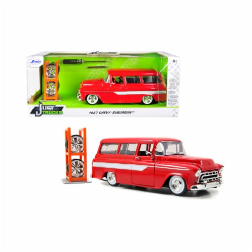 Jada 96986 1957 Chevrolet Suburban Stripes & Extra Wheels Just Trucks Series 1 by 24 Diecast Perspective: front