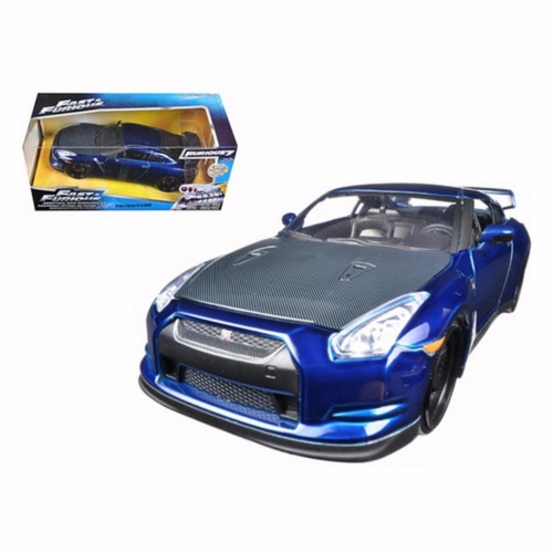 Jada 97036 Brians 2009 Nissan GTR R35 Blue Fast & Furious 7 Movie 1-24 Diecast Model Car Perspective: front