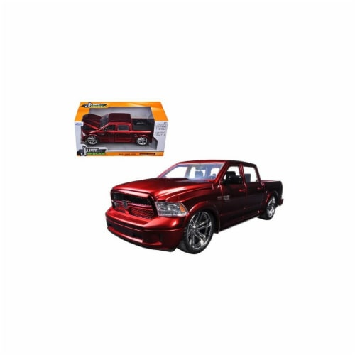 Jada 54040r 2014 Dodge Ram 1500 Pick Up Truck Red Custom Edition 1-24 Diecast Model Perspective: front