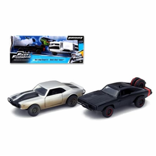 Dom's 1970 Dodge Charger R/T Off Road and Roman's Chevrolet Camaro Z/28 Set of 2 Model Cars Perspective: front