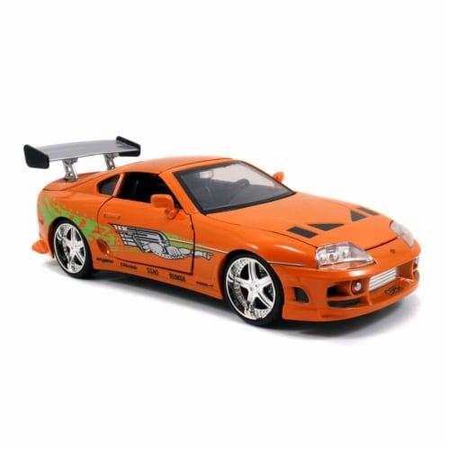 Jada 97168 Brians Toyota Supra Orange Fast & Furious Movie 1-24 Diecast Model Car Perspective: front
