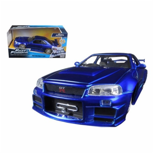 Jada 97173 Brians Nissan GTR Skyline R34 Blue Fast & Furious Movie 1-24 Diecast Model Car Perspective: front