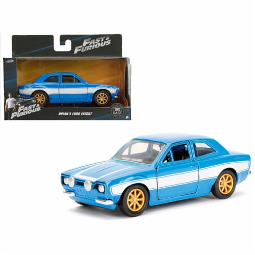 Jada Toys 97188 1 isto 32 Brians Ford Escort Fast & Furious Movie Diecast Model Car, Blue & W Perspective: front