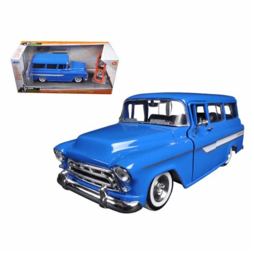 Jada 97190BL 1957 Chevrolet Suburban Blue Just Trucks with Extra Wheels 1-24 Diecast Model Perspective: front