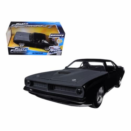 Jada 97195 Lettys Plymouth Barracuda Matt Black Fast & Furious 7 Movie 1-24 Diecast Model Car Perspective: front