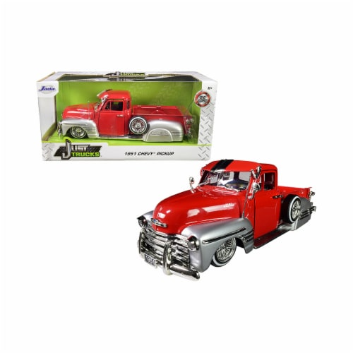 Jada 97229 1951 Chevrolet Lowrider Pickup Truck Just Trucks 1 by 24 Diecast Model Car, Red & Perspective: front