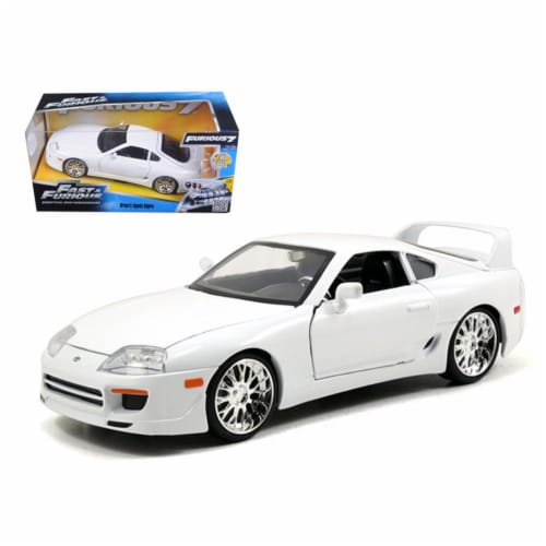 Jada 97375 Brians Toyota Supra White Fast & Furious Movie 1-24 Diecast Car Model Perspective: front