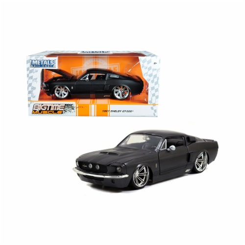Jada 97411 1967 Ford Mustang Shelby GT500 Matt Dark Gray with Black Stripes 1-24 Diecast Mode Perspective: front