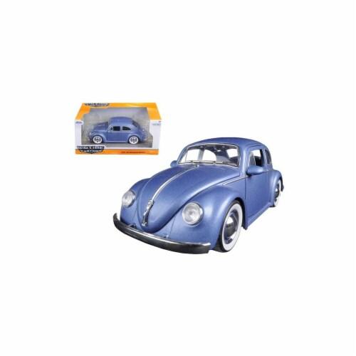 Jada 97420 1959 Volkswagen Beetle Satin Metallic Matt Blue with Baby Moon Wheels 1-24 Diecast Perspective: front
