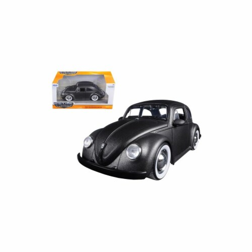 Jada 97421 1959 Volkswagen Beetle Satin Metallic Matt Gray with Baby Moon Wheels 1-24 Diecast Perspective: front