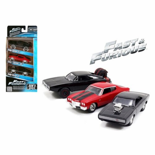 Fast and Furious Dom's Rides Dodge Chargers and Chevelle 3 Pack Set 1/55 Diecast Model Cars Perspective: front