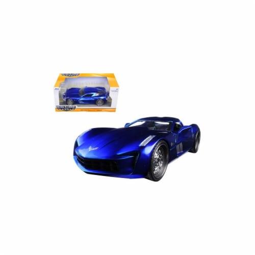 Jada 97468 2009 Chevrolet Corvette Stingray Concept Blue 1-24 Diecast Model Car Perspective: front