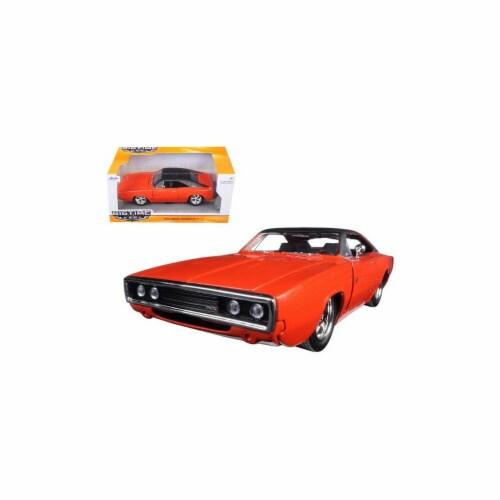 Jada 97593or 1970 Dodge Charger R & T Orange 1-24 Diecast Model Car Perspective: front