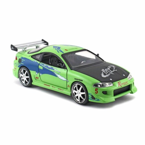 Jada 97603 Brians Mitsubishi Eclipse from 2001 1 by 24 Diecast Model Car - Green Perspective: front