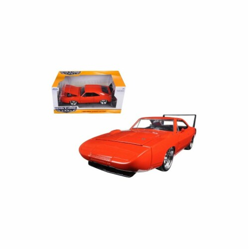 Jada 97682 1969 Dodge Charger Daytona Orange 1-24 Diecast Model Car Perspective: front
