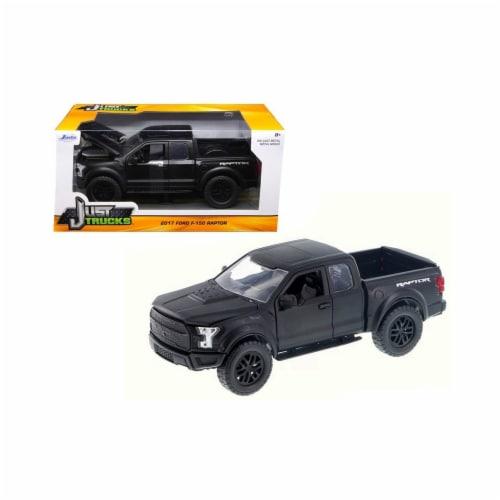 Jada 97756 2017 Ford F-150 Raptor Pickup Truck Matt Black Just Trucks 1-24 Diecast Model Car Perspective: front