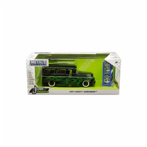 Jada 97821 1957 Chevrolet Suburban Black with Green Flames & Extra Wheels Just Trucks Series Perspective: front