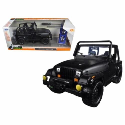 1992 Jeep Wrangler \Just Trucks\ with Extra Wheels Matt Black 1/24 Diecast Model Car by Jada Perspective: front