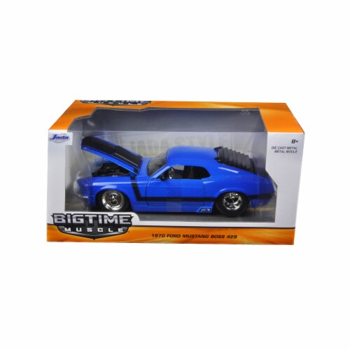 Jada 98026 1 by 24 Scale Diecast 1970 Ford Mustang Boss 429 Blue Model Car Perspective: front