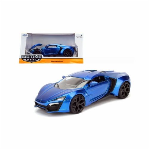 Jada 98076 1 by 24 Scale Diecast Lykan Hypersport Blue Model Car Perspective: front