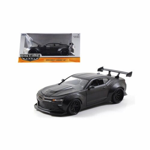 Jada 98139 1 by 24 Scale Diecast 2016 Chevrolet Camaro SS Wide Body with GT Wing Primer Black Perspective: front