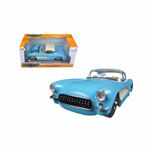 Jada 98162 1 by 24 Scale Diecast 1957 Chevrolet Corvette Sky Blue with Cream Top & Side Model Perspective: front