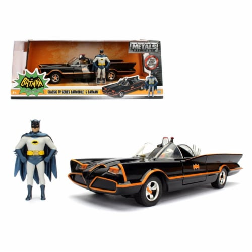 Jada 98259 1 by 24 Scale Diecast 1966 Classic TV Series Batmobile with Diecast Batman & Plast Perspective: front