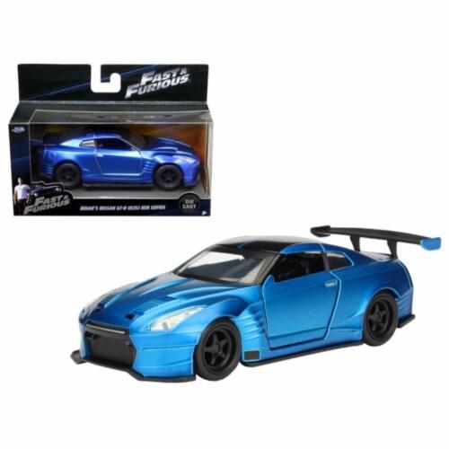 "Brian\'s 2009 Nissan GTR R35 Blue Ben Sopra \Fast & Furious\"" Movie 1/32 Diecast Model Car "" Perspective: front"