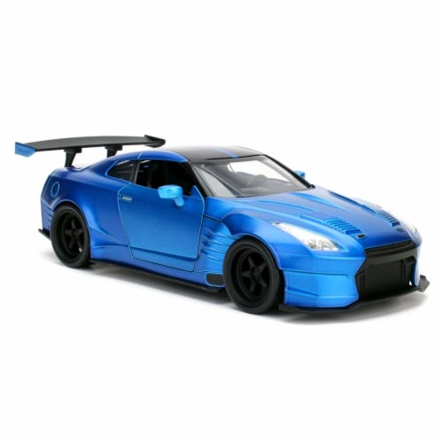 Jada 98271 1 by 24 Scale Diecast Brians 2009 Nissan GTR R35 Blue Ben Sopra Fast & Furious Mov Perspective: front