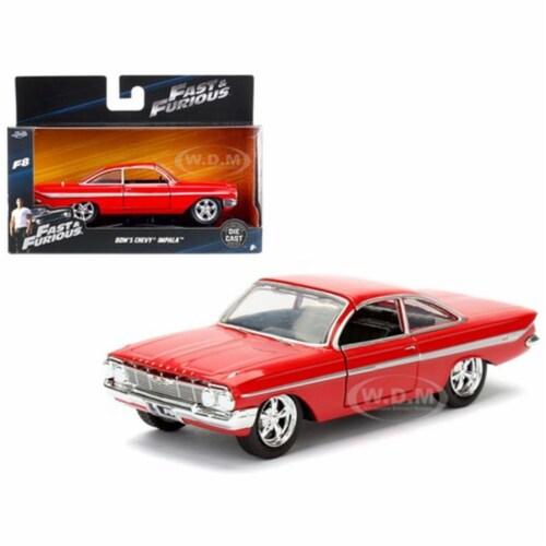 """Dom\'s Chevrolet Impala Red Fast & Furious F8 \The Fate of the Furious\ Movie Model Car """""""""""" Perspective: front"""