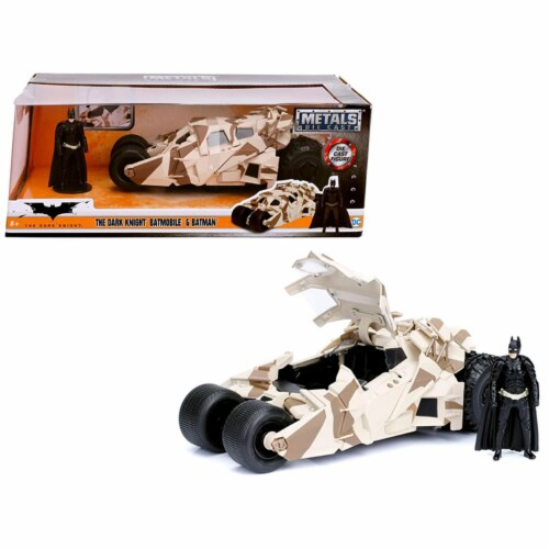 Jada 98543 The Dark Knight Batmobile with Batman Diecast Figure Camouflage Version DC Comics Perspective: front