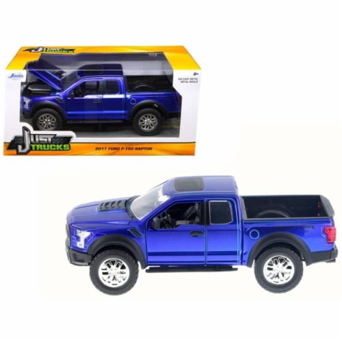 2017 Ford F-150 Raptor Pickup Truck Blue 1/24 Diecast Model Car by Jada Perspective: front