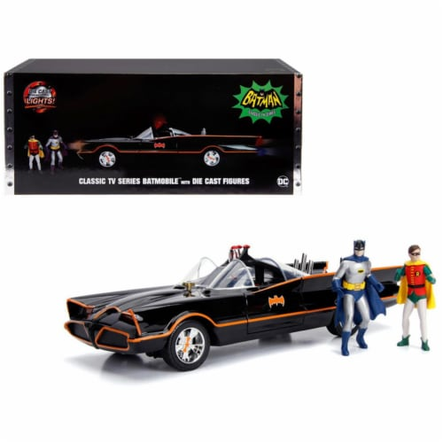 Jada 98625 Classic TV Series Batmobile with Working Lights & Diecast Batman & Robin Figures 8 Perspective: front