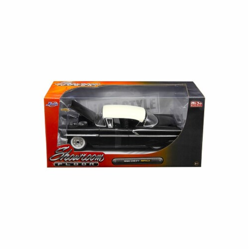 Jada 98895 1958 Chevrolet Impala Black Showroom Floor 1 by 24 Diecast Model Car Perspective: front