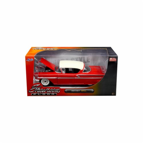 Jada 98896 1958 Chevrolet Impala Red Showroom Floor 1 by 24 Diecast Model Car Perspective: front
