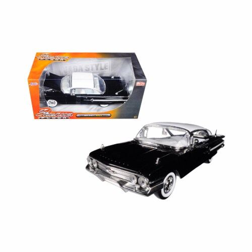 Jada Toys 98901 1 isto 24 1960 Chevrolet Impala Black Showroom Floor Diecast Model Car Perspective: front