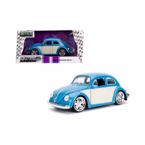 Jada 99018 1959 Volkswagen Beetle Light Blue & Cream Bigtime Kustoms 1 by 24 Diecast Model Ca Perspective: front