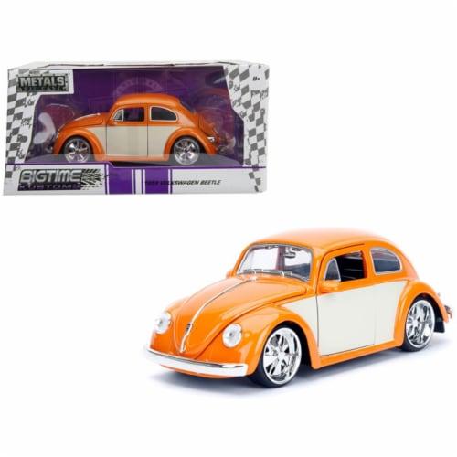 Jada 99019 1959 Volkswagen Beetle Orange & Cream Bigtime Kustoms 1 by 24 Diecast Model Car Perspective: front