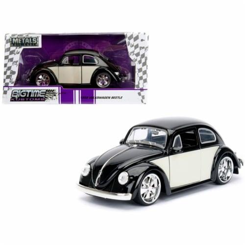 Jada 99021 1959 Volkswagen Beetle Black & Cream Bigtime Kustoms 1 by 24 Diecast Model Car Perspective: front