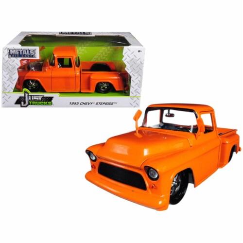 Jada Toys 99040 1 isto 24 1955 Chevrolet Stepside Pickup Truck Diecast Car Model, Orange Perspective: front
