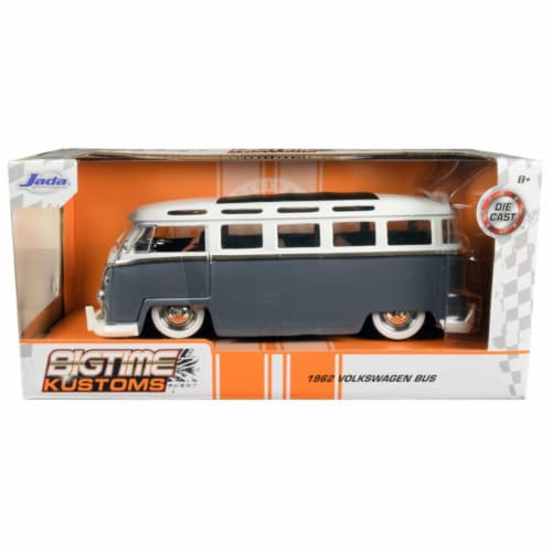Jada 99057 1962 Volkswagen Bus Gray & White Bigtime Kustoms 1 by 24 Diecast Model Perspective: front