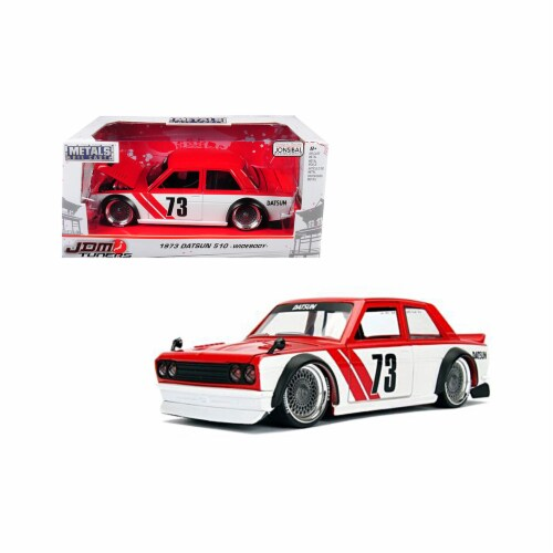 Jada Toys 99097 1 isto 24 1973 Datsun 510 Widebody No. 73 JDM Tuners Diecast Model Car, Red Perspective: front