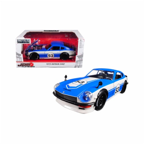 Jada 99099 1972 Datsun 240Z No.53 Blue-White JDM Tuners 1-24 Diecast Model Car Perspective: front