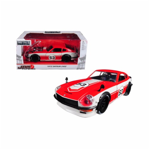 Jada 99100 1972 Datsun 240Z No.53 JDM Tuners 1 by 24 Diecast Model Car, Red & White Perspective: front